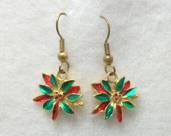 Vintage Poinsettia Christmas Earrings - Pierced Dangle