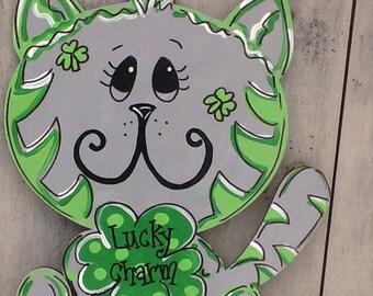 St. Patricks door sign, st. Patricks door hanger, st. Patricks kitten sign, leprechaun door hanger, st. Party's door sign, luck of the Irish