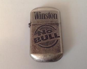 Winston No Bull cigarette lighter, vintage Winston lighter, No Bull lighter, vintage flip top cigarette lighter