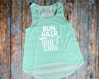 DANCE. Bun Hair Don't Care. Girls, Youth Mint & White Stripe Back, Racerback, Dance Tank. S - XL
