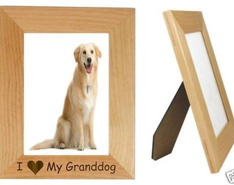 "I Love My Granddog 5"" x 7"" Picture Frame Vertical Personalized Photo (Engraved As You Like)"