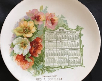 Antique 1911 Advertising Calendar Plate