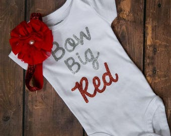 Bow Big Red! Sparkly silver and red bodysuit with matching sparkly headband! Nebraska baby girl outfit