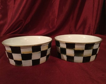 Set of 2 small pet food bowls/hand painted/black and white checks