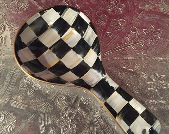 Ceramic hand painted spoon rest/black and white checkered