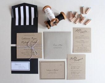 Rustic Black & White on Recycled Kraft Card Printed Wedding Invitation Set