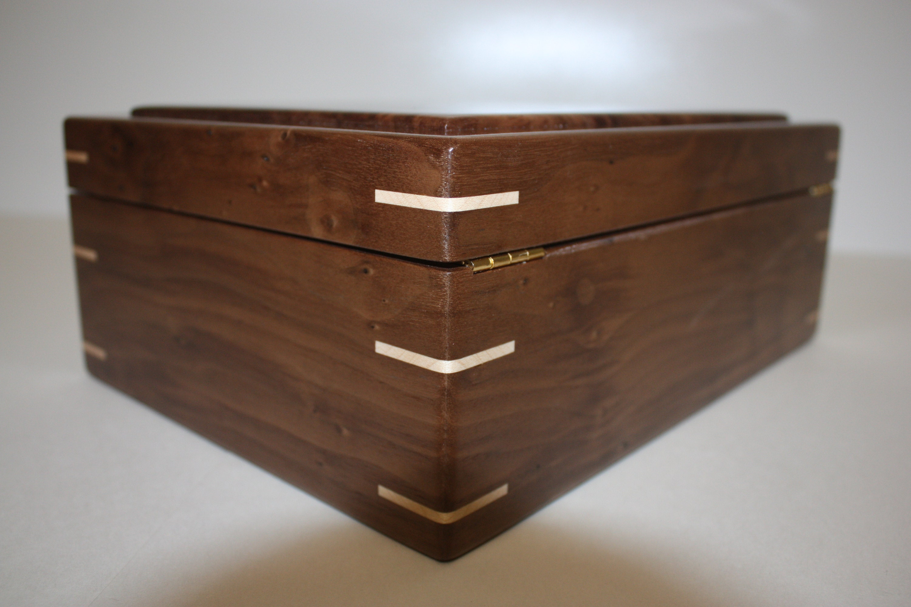 Wood Box with Hinged Lid For Sale