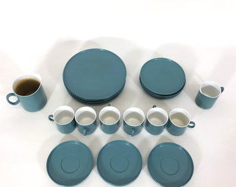 Breakfast set in blue melamine from the sixties.