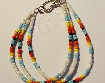 3 Strand Glass Seed Bead Bracelet