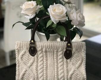Small handbag - soft wool blend aran pattern