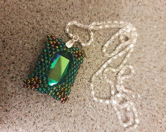 Necklace with beaded Swarovski pendant