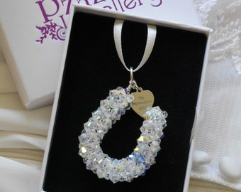 Bridal Bouquet Horseshoe Charm hand made from Swarovski pearls or crystals with optional personalised engraved heart