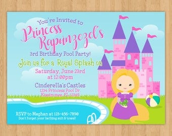 Princess Rapunzel Pool Party Birthday Invitation