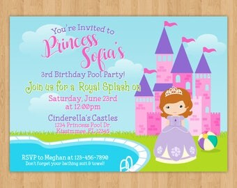 Sofia the First Pool Party Birthday Invitation