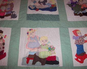Hand made, hand quilted Queen size quilt