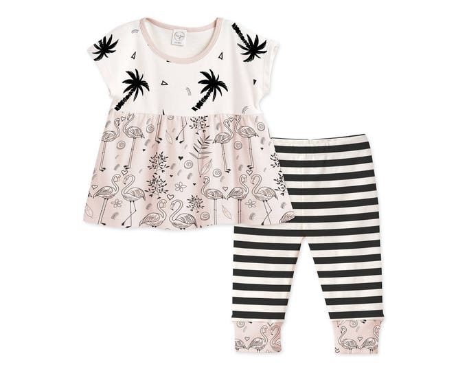 Pink Baby Girl Summer Outfit, Baby Girl Outfit Black Pink Floral Top Black Striped Leggings, Palm Trees Pink Flamingo Tesababe TL020TCFL0000