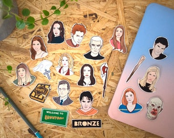 Buffy Stickers & Magnets, vinyl stickers, fridge magnets, vampire slayer, horror, halloween, laptop stickers