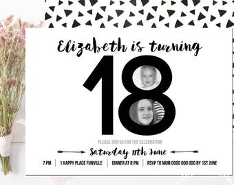 18th Birthday Invitation / Any Age / Photo Invitation Black and White Adult Invitation / 21st 16th 30th 40th 50th 60th Birthday Invitation