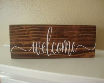 Welcome Wood Sign, Welcome Sign For Front Door,Home Decor, Rustic Wood Sign, Farmhouse Decor, Foyer Decor