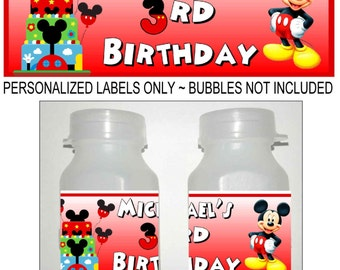 30 MICKEY MOUSE CLUBHOUSE birthday party bubble labels