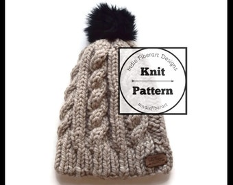 Knit Pattern // Chunky Cable Knit Slouch Hat // Adult  // Keewaydin Beanie