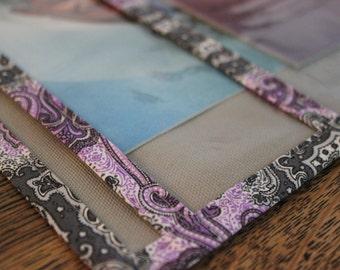 Magazine and Book Folder Service Book Bag Organizer -Grey with Purple Paisley
