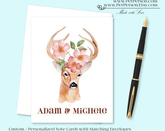 Free Ship!  Set of 12 Personalized / Custom Notecards, Boxed, Blank Inside, Deer, Horns, Rack, Flower, Floral, Pink, Monogram, Name
