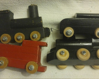 Charming Set of Four Chunky Wooden Trains