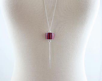 Long necklace Amu silver paper graphic stripe Navy Blue and Red