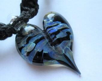 Heart - Hand Blown Boro Glass Heart Pendant on Handmade Black Hemp Necklace - OOAK Glass Blue Heart Pendant