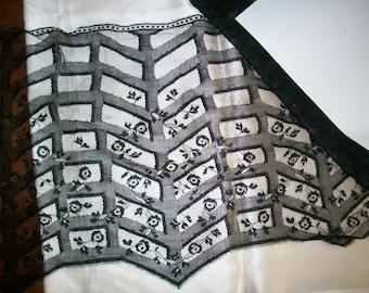 Antique black silk wide lace deco