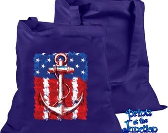 Nautical Anchor Tote Bag/American Flag Canvas Tote/Anchor And Flag Boat/Beach/Book/Shopping Bag Gift/Patriotic Summer Tote