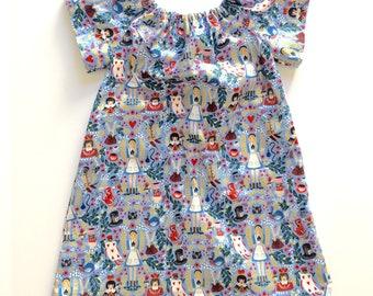WONDERLAND // alice in wonderland dress // rifle paper co // cotton and steel // toddler girls dress