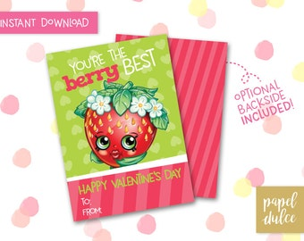 Shopkins Valentine's Day Card Printable - Strawberry Kiss - Instant Download
