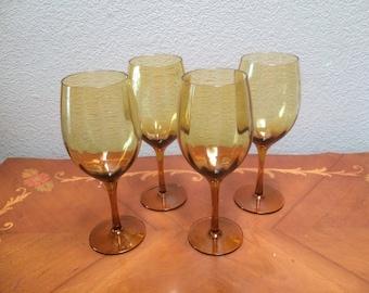 AMBER WINE GLASSES, Set of Four Amber Wine Glasses, Tall Amber Wine Glasses