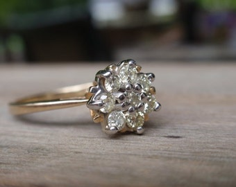 14k Vintage Diamond cluster Engagement Ring yellow gold