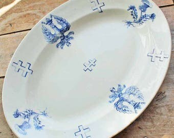 End of 19th century big oval plate by Luneville motif Cross and Crest of crown & Egle/ French vintage  oval serving platter Iron stone