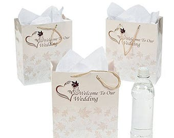 Medium Size Elegant Pale Cream Fall Leaves Gift Bags - Wedding Guest Bags - Hotel Bags - Fall Wedding Favor Bags - Sold Individually Here