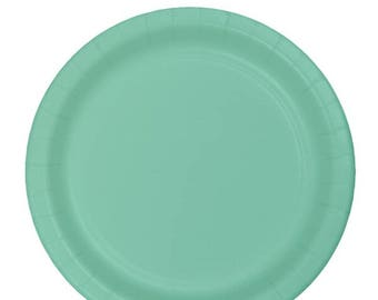 10 Ct Sturdy 6 1/2 Inch disposable Mint Green Dessert Size Paper Plates - Appetizer - Cake Plates - Wedding - Shower - All Occasion