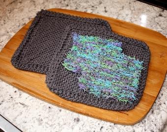 Knit Dish Cloth Knit Dish Scrubbie Set, Gray Knit Dish Cloth Set, Dish Scrubbie Set Blue Green