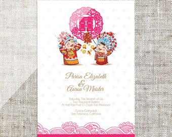 DIY Printable Editable Chinese Wedding Invitation Card Template Instant Download Traditional China Bride Groom