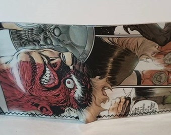 two face 3 - recycled comic book wallet - slim wallet - hanmade wallet - card holder - thin wallet - vinyl wallet - men's wallet