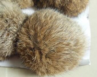 8cm Natural Brown Real Rabbit Fur Pom Poms Accessory