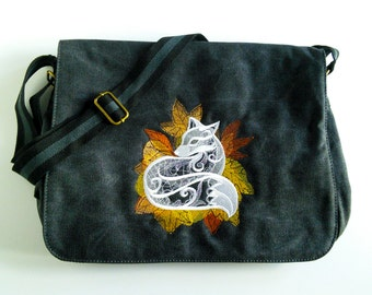 Black canvas messenger bag, despatch bag, college bag, fox bag, shoulder bag, cross body bag, back to school, work bag.