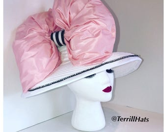 Big Pink and White Kentucky Derby Hat