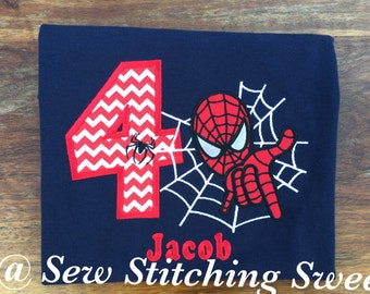 Spiderman Birthday Shirt, Superhero Birthday Shirt. Spiderman Shirt, Personalized Spiderman Shirt, Boys Birthday Shirt, Spiderman Party