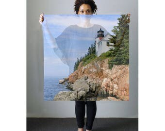 Lighthouse Scarf-Landscape Scarf-Photo Scarf-Chiffon Scarf-Voile Scarf-Sheer Scarf-Sheer Wrap/Shawl-Coastal Maine Scarf-Sarrong-Headwrap