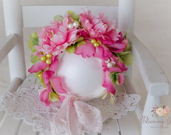 Floral Bonnet, Flower Bonnet, Flower Hat, Peony Flower Bonnet. Baby Flower bonnet, Sitter Flower bonnet.