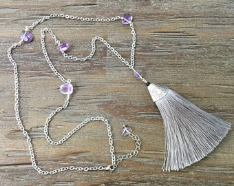 Long Tassel Pendant Beaded Ametrine Necklace/Silver Stainless Steel Decorative Chain/Extention Chain/Gray Tassel/Purple and Gray