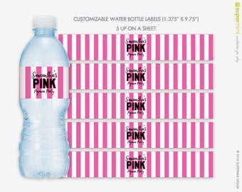 Victorias Secret Themed Pink White Stripes Water Bottle Wrapper Labels / Customized DIY Printable